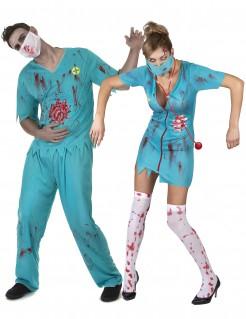 Zombieärzte-Paarkostüm für Erwachsene blau