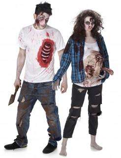 Zombie-Trash-Kostüm Paarkostüm Schwangere Halloween weiss-blau