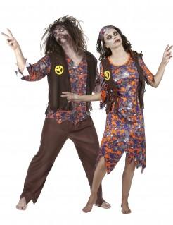 Zombie-Hippie-Paarkostüm bunt