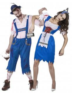 Bayrische Zombies Halloween-Paarkostüm für Erwachsene blau-weiss