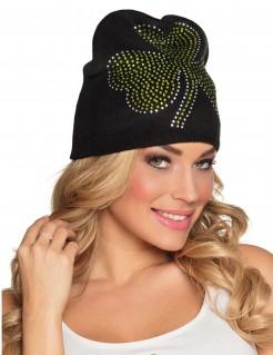 St. Patrick´s Day Mütze mit Glitzersteinen schwarz-grün