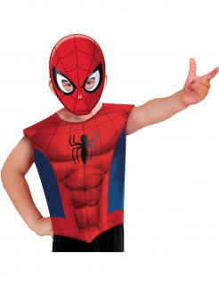 Spider-Man Kostüm-Set für Kinder mit Shirt und Maske