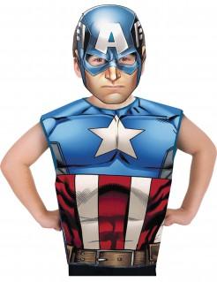 Captain America™ Kostüm-Set T-Shirt und Maske Lizenzware bunt