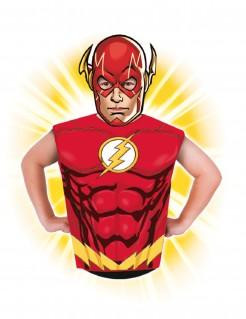 Flash™ Oberteil mit Maske Kostüm-Set für Kinder Lizenzartikel rot-gelb-weiss