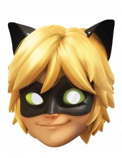 Cat Noir™ Miraculous™-Lizenzmaske Pappmaske gelb-schwarz