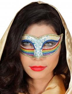 Regenbogen-Augenmaske mit Glitter für Damen blau