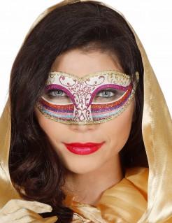 Regenbogen-Augenmaske mit Glitter für Damen rosa