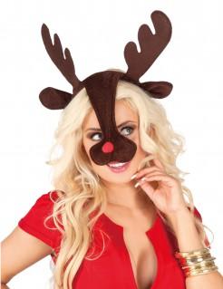 Haarreif mit Rentier-Geweih und -Schnauze Weihnachts-Accessoire