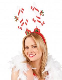 Rentier Haarreif Zuckerstangen Weihnachten rot-weiss