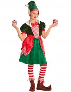 Weihnachtselfen-Kinderkostüm grün-rot-weiss