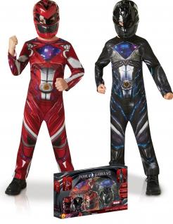Power Rangers™ Kostüm-Set für Jungen roter und schwarzer Ranger Lizenzartikel bunt