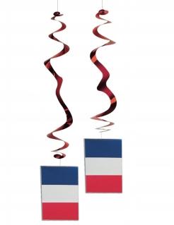 Frankreich-Dekospiralen Länder-Fanartikel 6 Stück rot-blau-weiss 80cm