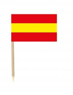 Spanien-Flaggen Partypicker 50 Stück rot-gelb 3x5cm