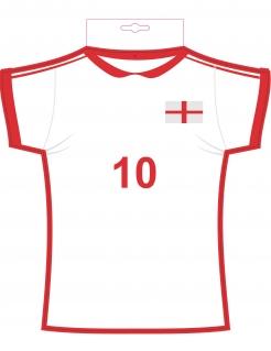 England Trikot Wanddeko weiß-rot 31 x 33cm