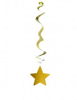 Stern-Hängegirlande Weihnachts-Deko 6 Stück gold 80cm