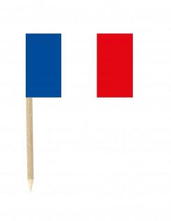Frankreich-Flaggen Partypicker 50 Stück blau-weiss-rot 3x5cm