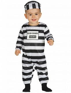 Sträfling-Babykostüm Verbrecherkostüm schwarz-weiss