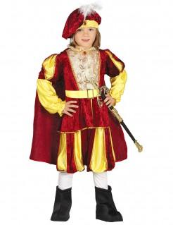 Hochwertiges Prinzenkostüm für Kinder Märchenprinz-Kostüm rot-gold