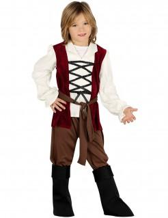Mittelalter-Kostüm für Kinder Wirt Fasching rot-weiss-braun