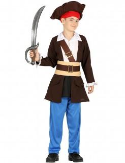 Piratenkapitan Kostüm für Kinder Karneval braun-blau