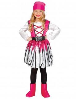 Kleine Piratin Mädchenkostüm Karneval weiss-pink