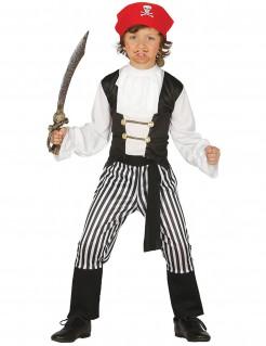 Piratenkostüm Freibeuter für Kinder Karneval schwarz-weiss