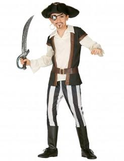 Wildes Piratenkostüm für Kinder Piratenkapitän weiss-schwarz-braun