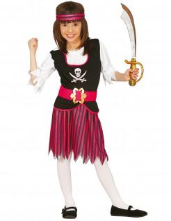 Piraten-Kostüm für Mädchen rosa-schwarz
