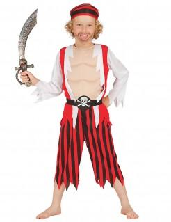 Muskulöser Pirat Kostüm für Kinder Karneval rot-weiss-schwarz