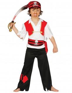 Piratenkostüm für Kinder Seeräuber Karneval schwarz-rot-weiss