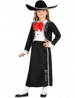 Mexikanerin-Kostüm für Mädchen schwarz