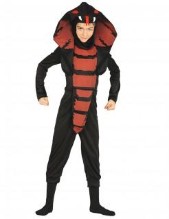 Kobrakostüm für Kinder Karneval schwarz-rot