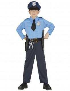 Polizist-Kostüm für Kinder Karneval blau-schwarz