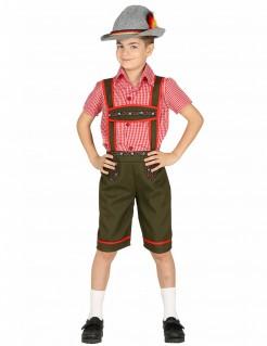 Trachten-Kostüm für Jungen Oktoberfest-Kostüm grün-rot-grau