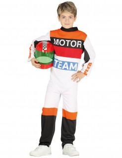 Rennfahrer-Kostüm für Kinder Karneval weiss-orange