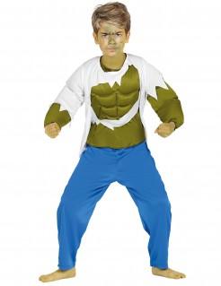 Muskulöses Superheldenkostüm für Kinder 3-teilig bunt