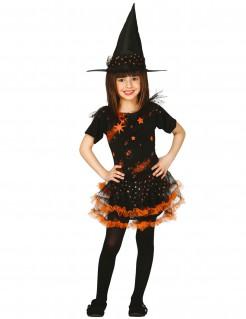 Bezauberndes Hexenkostüm mit Sternen für Mädchen schwarz-orange