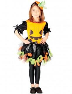 Niedliches Kürbis-Kinderkostüm für Halloween schwarz-orange-grün