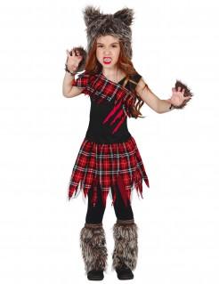 Werwolf-Kostüm für Kinder schwarz-rot-grau