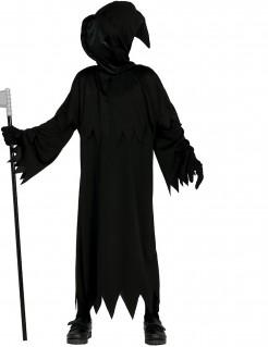 Schauriges Sensenmann-Kostüm für Kinder Halloween schwarz
