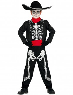 Día de los Muertos Skelettkostüm für Jungen Halloween schwarz-weiss