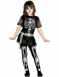 Día de los Muertos Skelett-Kostüm für Kinder Halloween schwarz-weiß