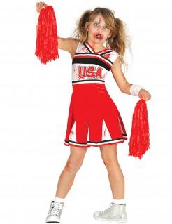 Schauriges Cheerleader-Kinderkostüm Halloween rot-schwarz-weiss