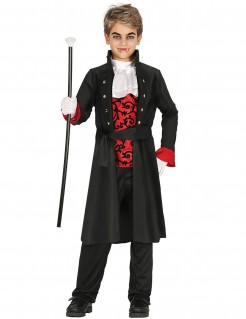 Vampirkostüm für Kinder Halloween schwarz-rot