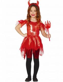 Teufel-Kostüm für Mädchen Halloween Karneval rot