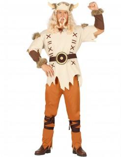 Wikinger-Kostüm für Herren braun-beige-orange