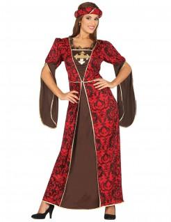 Mittelalter-Königinnen-Kostüm rot-braun-gold