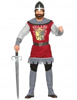 Royales Ritterkostüm mit Wappen rot-grau