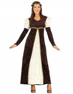 Mittelalter-Prinzessin Damenkostüm braun-beige