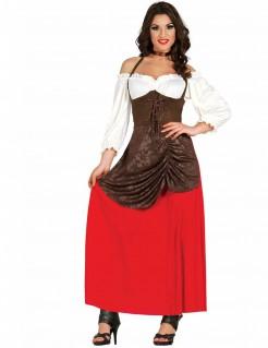 Wirtin-Kostüm für Damen weiss-braun-rot